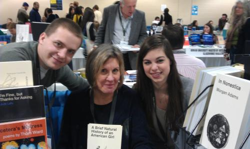 Sarah Freligh at a book signing at AWP conference in Boston, 2013