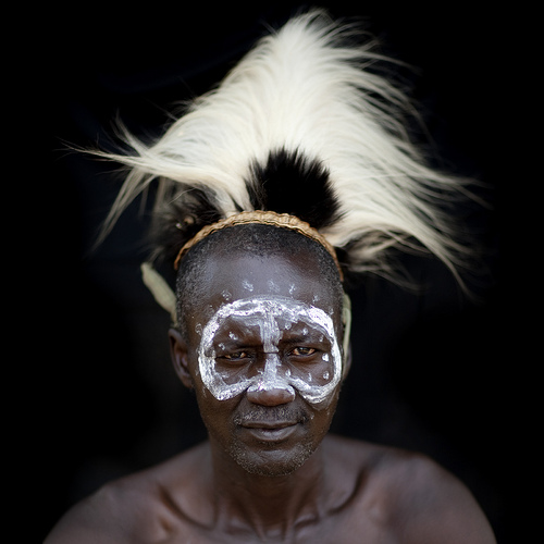 Tharaka warrior with monkey headdress - Kenya