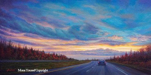 Driving under sunset by Mona Youssef