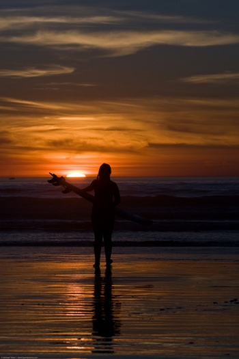 Surfer Girl in Silhouette