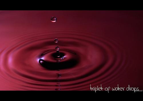 triplet of water drops