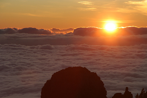 Sunset looking down on clouds from Teide