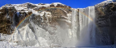 pano Skogafoss with rainbow