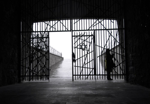 GRIGSBY_Dachau3: Inside the Jewish memorial at the notorious Dachau Concentration Camp in Dachau, Germany. What caught my eye here was the dreary weat