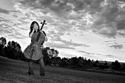 GRIGSBY_TheCellist: A young cellist strikes a pose with her beloved cello in a local city park. I like the way the off-camera strobe hits the subject